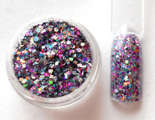 Nail Art * HOLOGRAMM GLITTER-MIX * silber lila türkis flieder schwarz *N E U*