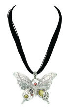 Butterfly Necklace Silver With Stones Free Shipping Fashion Jewelery New