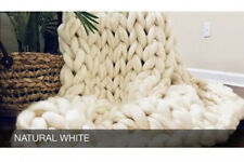 Chunky Knit Blanket - Merino Wool - Natural White - Arm Knit Throw - Chunky Knit