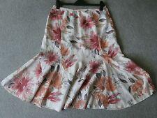 "Per Una - M&S ladies cream red & Orange floral linen skirt - size 14 - 29"" long"
