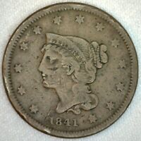 1841 Braided Hair US One Cent Penny Coin 1c Large Cent Copper Coin Fine