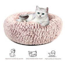 Donut Plush Pet Sleeping Bed Ultra Soft Warm Dog Cat Round Calming Kennel Nest
