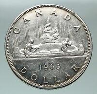 1963 CANADA w UK Queen Elizabeth II VINTAGE Voyagers Silver Dollar Coin i84866