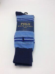 $18  men's Polo Ralph Lauren 2 pack stripe & solid socks R3