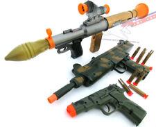 3x Toy Guns! Military Toy Bazooka, UZI Machine Gun Dart Gun & Camo 9MM Cap Gun