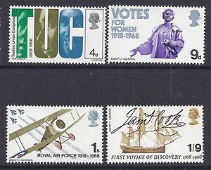 GB 1968 QEII BRITISH ANNIVERSARIES SET OF 4 FINE MINT MNH/MUH SG767-SG770