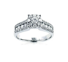 Diamante Anello Di Brillanti 585x Oro Bianco 1,10 Carato Wesselton Nuovo