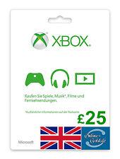 Xbox Live Card - 25 GBP Microsoft £25 Guthaben - ms Xbox 360 / Xbox One 25 Pound