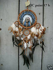 NEW HANDMADE DREAM CATCHER WITH NATIVE INDIAN PAINTING ON LEATHER / dcpaint17h