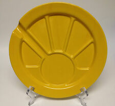 """Hoffritz Yellow Gold Fondue Party Dessert Plate Sectioned Divided 9 1/2"""""""