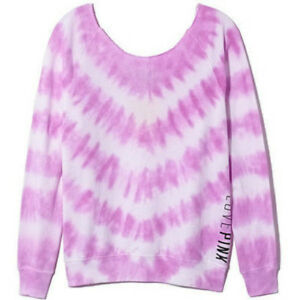 Victorias Secret PINK White Purple Slouchy Pullover Sweatshirt Top Size S Small