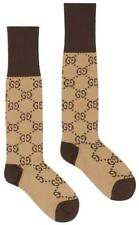NEW GUCCI LADIES CURRENT GG PATTERN BEIGE BROWN COTTON BLEND SOCKS 8/SMALL