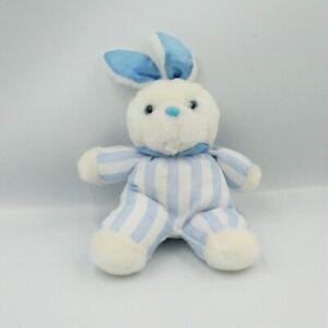 Doudou lapin blanc rayé bleu Pampers 20 cm
