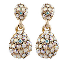 CLIP ON EARRINGS - gold luxury drop earring with coloured stones - Mabel