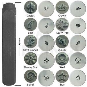6mm cactus crown tree spiral quaver skull star leaf stamp punch metal tool