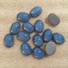 AW504 Vintage 14x10mm cerulean blue opal oval glass cabochons, unfoiled FB (24)