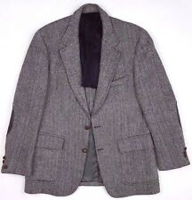 HARRIS Tweed JACKET Herringbone MENS Two BUTTON Wool ELBOW Patches SIZE 42R Sz**