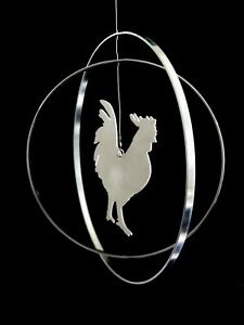 Stainless Steel Chicken Hanging Mobile Hand Made Artist Made Kinetic Art Decor