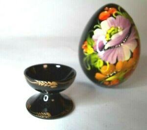 Ukraine Pysanka Hand Painted Decorative Wooden Egg.Flowers Petrikov Painting