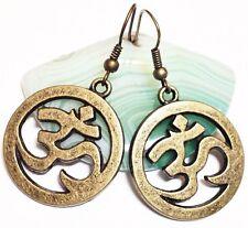 OHM_Bronze Charm Earrings Hook_Buddhist Om Aum Reiki Yoga Chakra Zen Symbol_151E