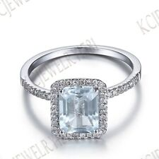 Solid 14K White Gold Emerald Cut Aquamarine Ainiversary Unique Gemstone Ring