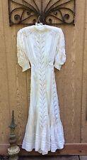 ANTIQUE VICTORIAN EDWARDIAN Cotton Batiste & Eyelet Lace LAWN Dress WEDDING GOWN