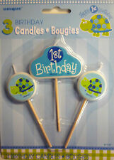 3 x Blue Tortoise 1st Birthday Party Candles