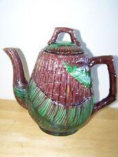 1800s Antique Majolica Teapot Beautiful Design Nice Condition English Mark