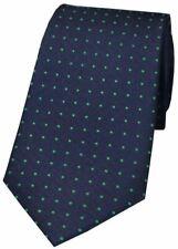 David Van Hagen Mens Pin Dot Silk Tie - Navy/Green