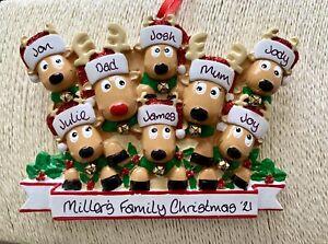 Personalised Reindeer Family of 8 Christmas Tree Decoration Bauble Grandchildren