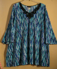Maggie Barnes 4X Blouse New Blue White Black Crochet Trim Sparkles STYLISH [d43]