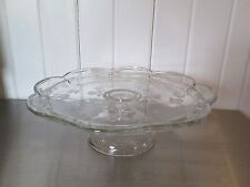 PEDESTAL GLASS CAKE CUPCAKE STAND SCALLOPED RIM EMBOSSED FLORAL