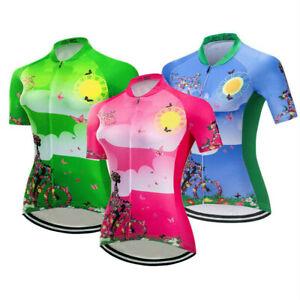 Women's Cycling Jersey Blue/Green/Pink Ladies Short Sleeve Shirt Sportwear Top