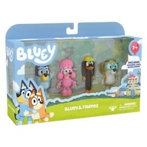 Bluey Family Figurines 4 Pack Bluey and Friends Pack From Moose Toys