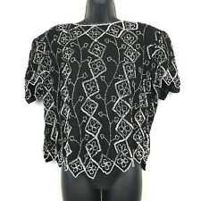 Marina By Marina Bresler XL Black Sequined Beaded Top Vintage Full Zip Back