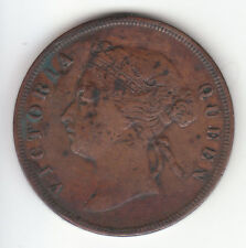 1876 British Straits Settlements Queen Victoria 1 One Cent.