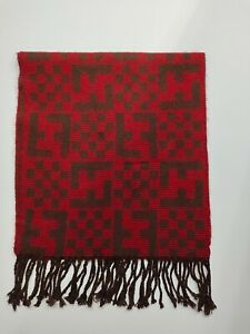 FENDI genuine vintage Red / Brown winter Wool scarf Scarves