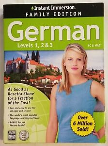 Instant Immersion Family Edition Deluxe German Levels 123 PC/Mac preowned sealed