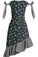 HOUSE of HOLLAND Floral Print & Gingham off the Shoulder Dress. UK 14 RRP £ 340
