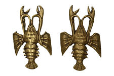 More details for 2 x vintage  brass lobster paperweights 1 x peerage