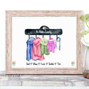 Personalised COATS Watercolour Word Art Family Print New Home Coat Hook Hanger
