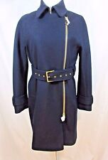 J Crew Petite Belted Zip Trench Coat Jacket Style E5591 Size 6P in Navy NWT