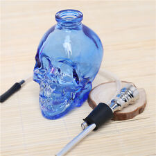 Wholesale 3.4''H Blue Glass Water Smoking Pipes Hookah Skull Shape Hookah Pipe