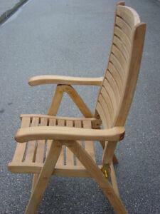 Teak folding recliner chair - Grade A - very good condition