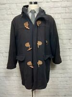 L.L. BEAN (LARGE) Men's Dark Navy Blue 100% Wool Toggle Jacket Coat