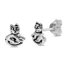 Cute Cat Stud .925 Sterling Silver Earrings