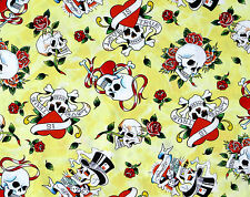 DAY OF THE DEAD  LOVE IS TRUE SKULLS CROSSBONE ROSES HEARTS  FABRIC  BY THE YARD