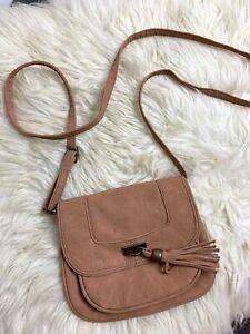 Brown Camel Pleather Tassel Small Mini Sling Bag Purse Boho Hippy Gypsy