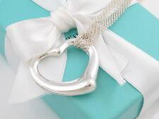 "Tiffany & Co Silver Mesh Open Heart Necklace Peretti 30.5"" Box Pouch MSRP $700"