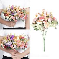 1 Bouquet Artifical Rose Silk Flower Bouquet Wedding Decor Home